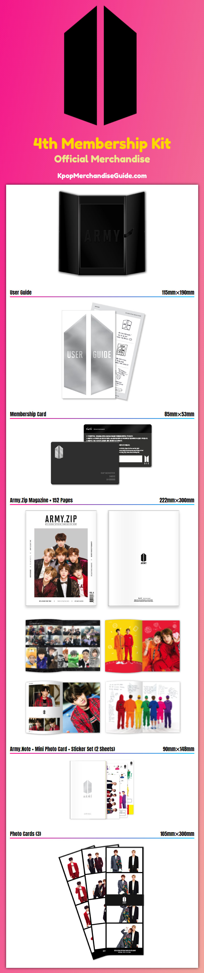 bts global official fanclub 4th army membership kit