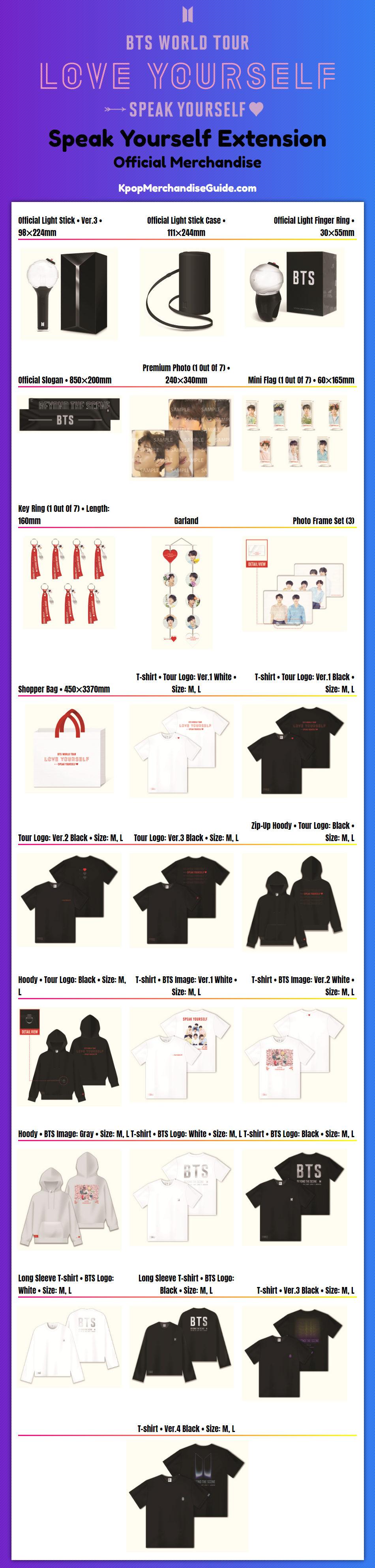 BTS World Tour: Love Yourself: Speak Yourself Merchandise