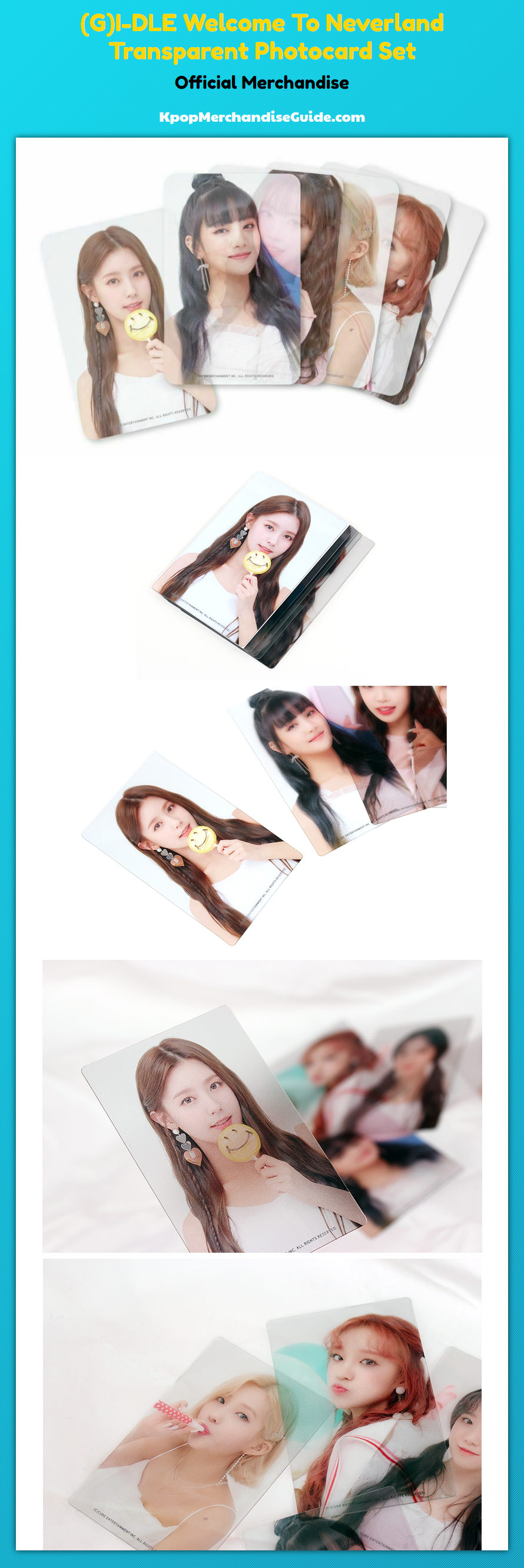 gi dle welcome to the neverland transparent photocards details
