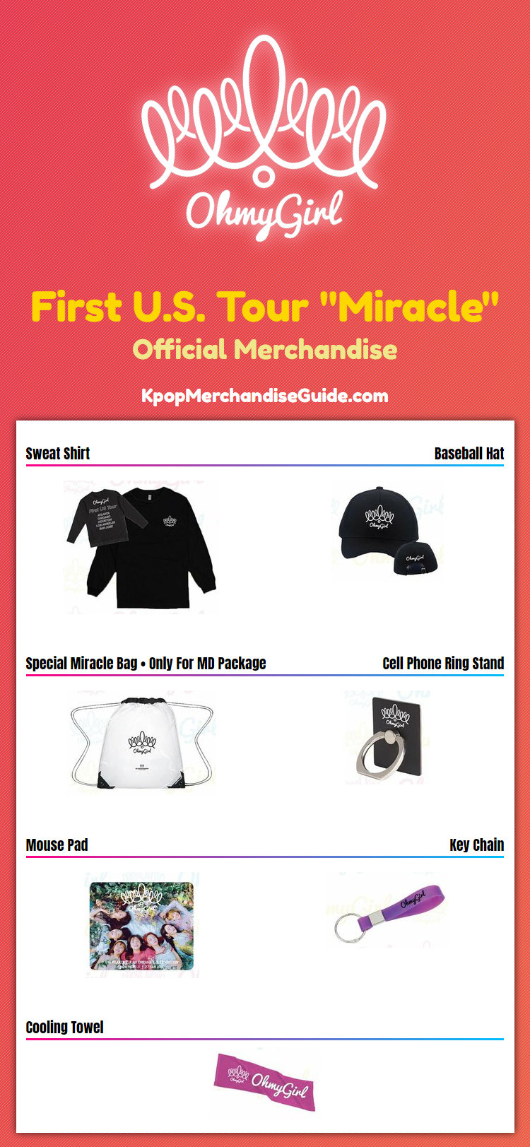 Oh My Girl First U.S. Tour Miracle Merchandise