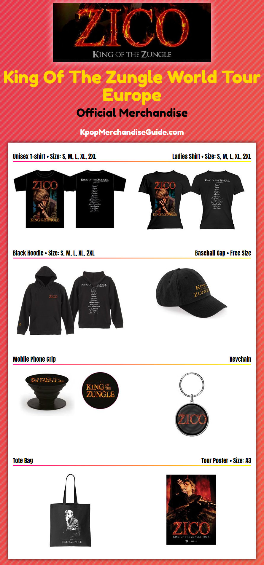 King Of The Zungle Concert Tour In Europe Merchandise